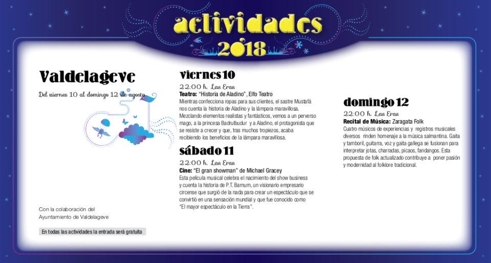 Valdelageve Noches de Cultura Agosto 2018
