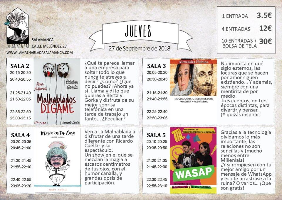 La Malhablada I Festival de Microteatro 27 de septiembre de 2018 Salamanca