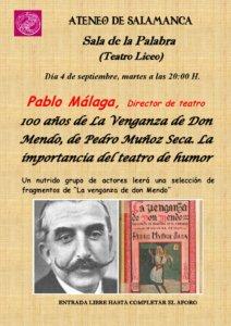 Teatro Liceo 100 años de La Venganza de Don Mendo, de Pedro Muñoz Seca. La importancia del teatro de humor Ateneo de Salamanca Septiembre 2018