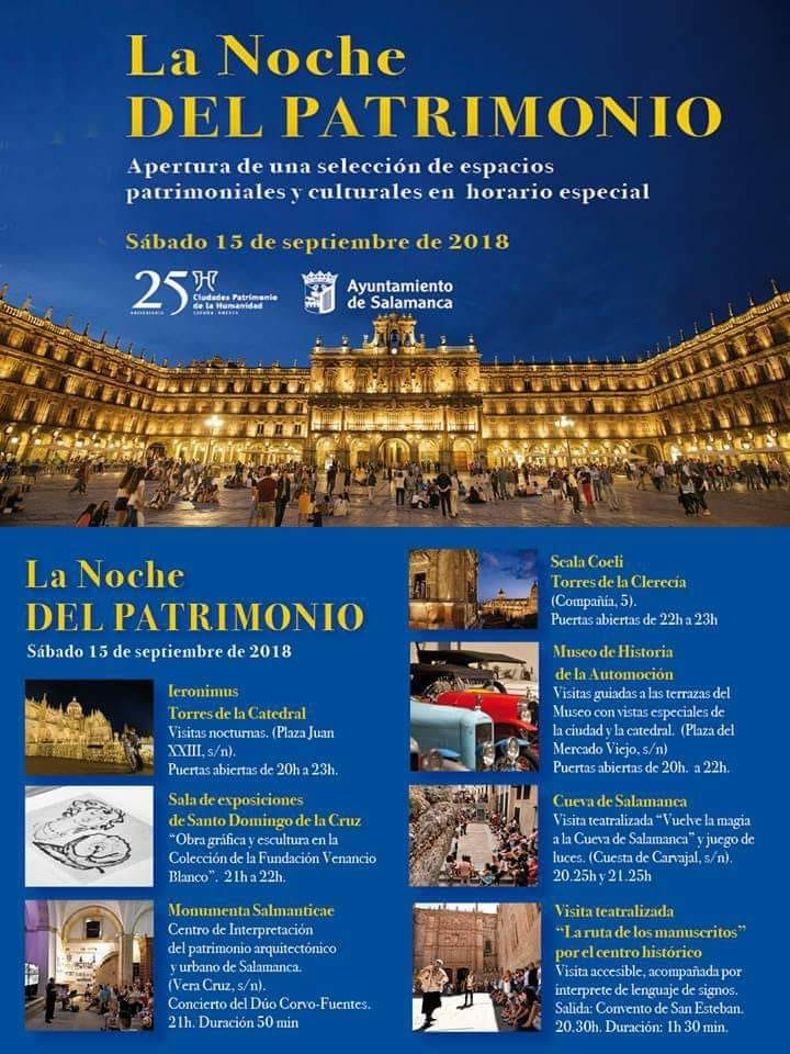 Salamanca La noche del Patrimonio Septiembre 2018