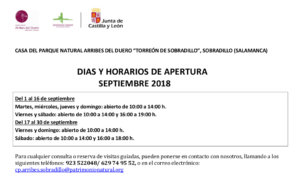 Horarios de septiembre (2018) para el Torreón de Sobradillo
