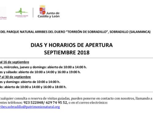 Horarios de septiembre (2018) para el Torreón de Sobradillo.