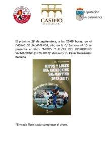 Casino de Salamanca Mitos y luces del kickboxing salmantino. 1978-2017 Septiembre 2018