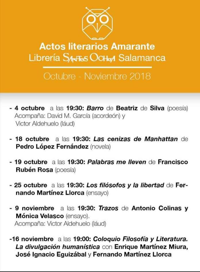 Santos Ochoa Salamanca Editorial Amarante Programación Octubre Noviembre 2018