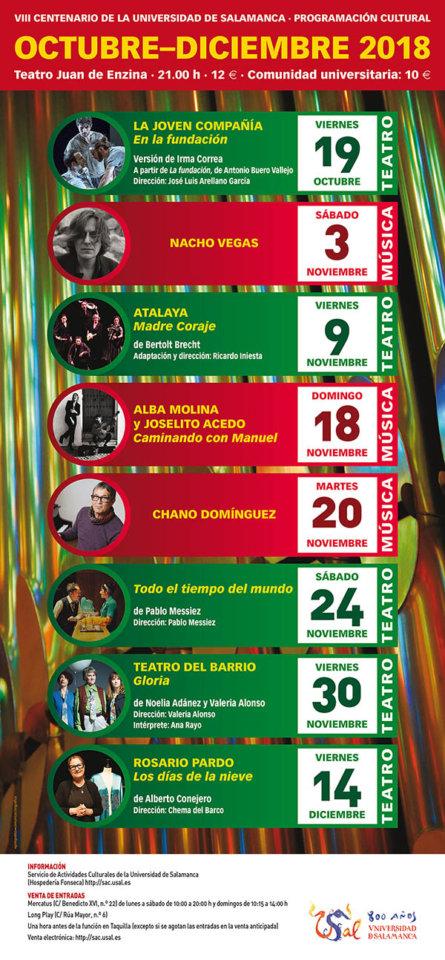 Aula Teatro Juan del Enzina Programación Cultural Octubre - Diciembre 2018 Salamanca