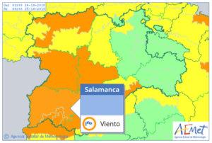 Este domingo, 14 de octubre, el viento pone en alerta meteorológica naranja a Salamanca