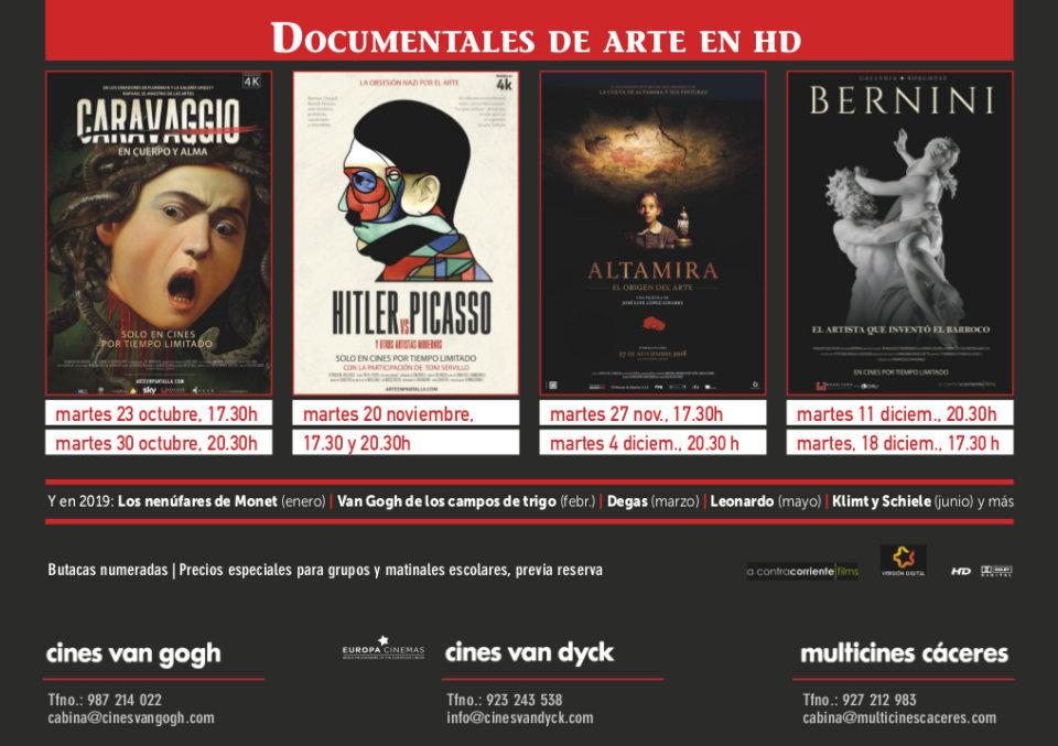 Cines Van Dyck Documentales de Arte Salamanca Octubre noviembre diciembre 2018