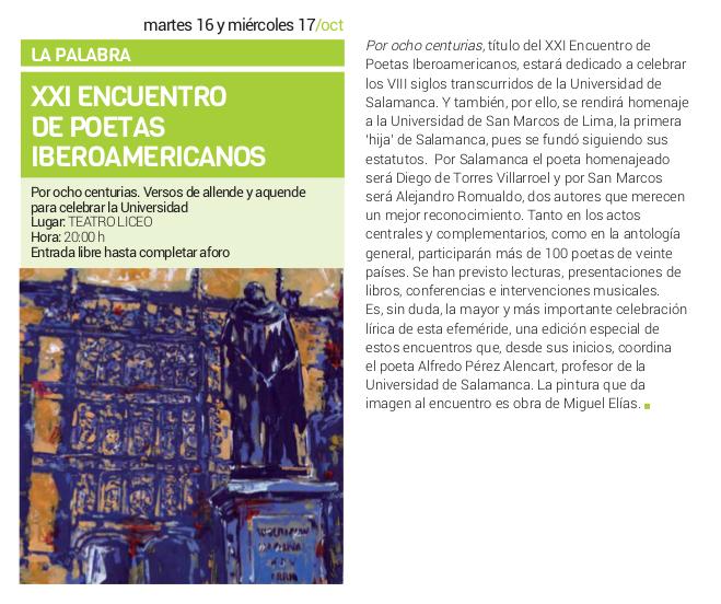 Teatro Liceo XXI Encuentro de Poetas Iberoamericanos Salamanca Octubre 2018