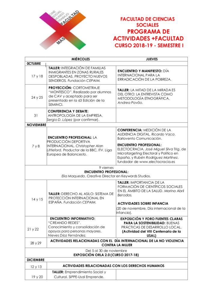 Facultad de Ciencias Sociales +Facultad 2018-2019 Salamanca