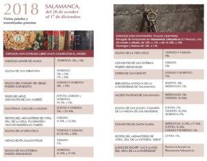 Horario Salamanca XI Las Llaves de la Ciudad Octubre noviembre diciembre 2018