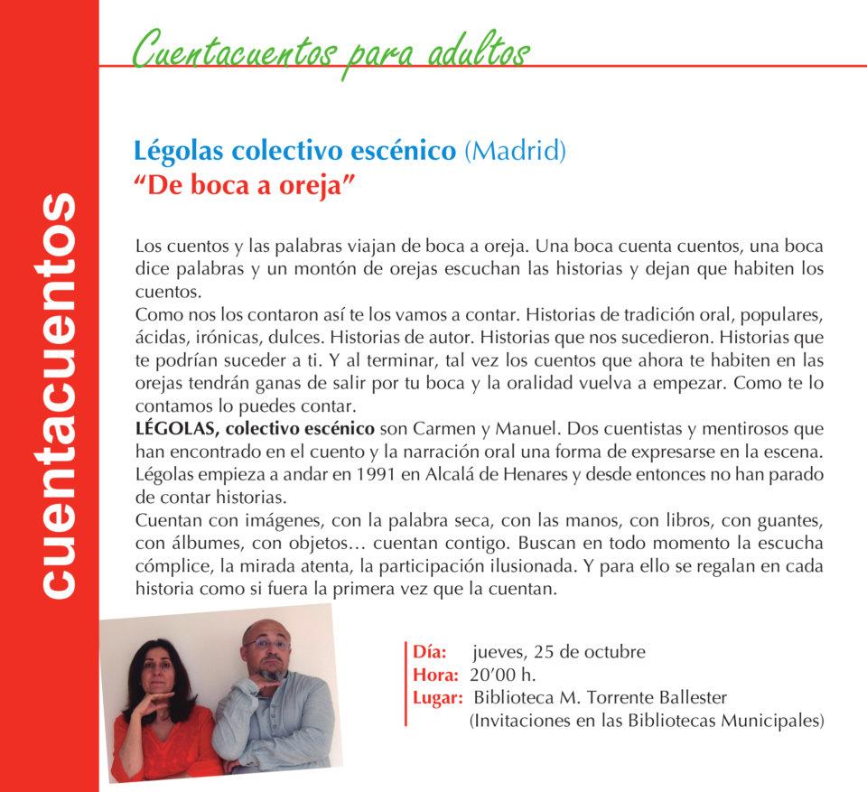 Torrente Ballester Légolas Colectivo Escénico Salamanca Octubre 2018
