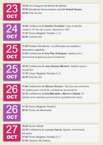 Programa Salamanca Festival de Ajedrez VIII Centenario Octubre 2018