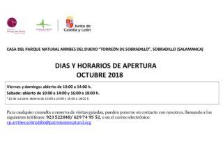 Horarios de octubre (2018) para el Torreón de Sobradillo