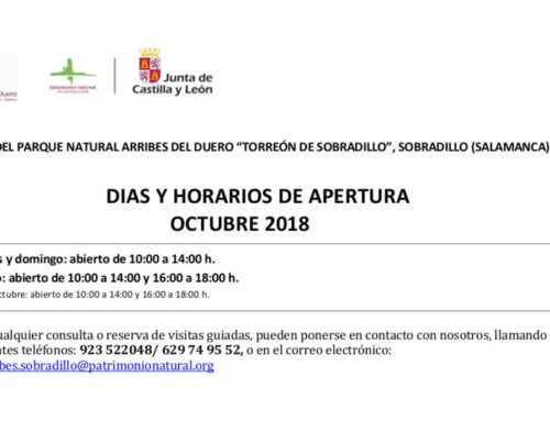 Horarios de octubre (2018) para el Torreón de Sobradillo.