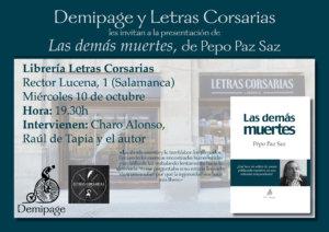 Letras Corsarias Las demás muertes Salamanca Octubre 2018