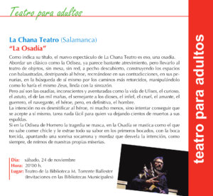 Torrente Ballester La Chana Teatro Salamanca Noviembre 2018