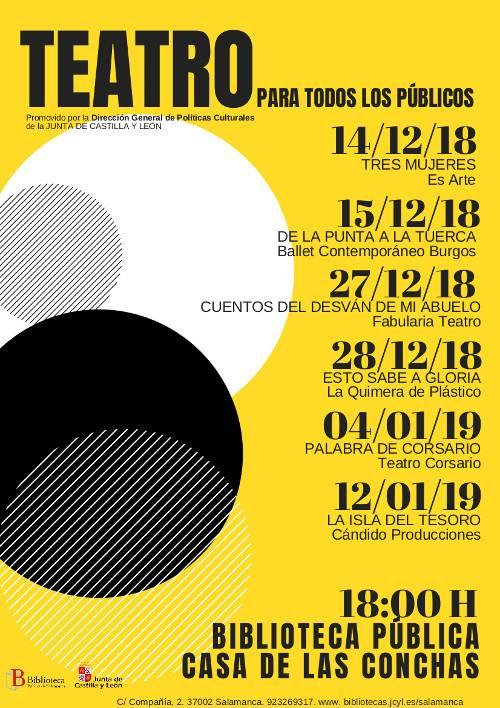 Casa de las Conchas Teatro para todos los públicos Salamanca Diciembre 2018 enero 2019