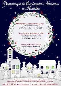 Programación de Cuentacuentos Navideños Manolita Café Bar Salamanca Diciembre 2018 enero 2019