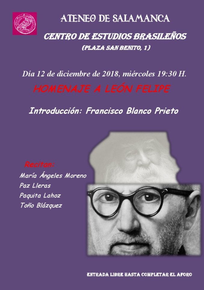 Centro de Estudios Brasileños Homenaje a León Felipe Ateneo de Salamanca Diciembre 2018