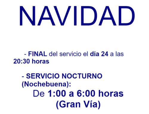 El servicio de transporte urbano de Salamanca para por Navidad 2018.