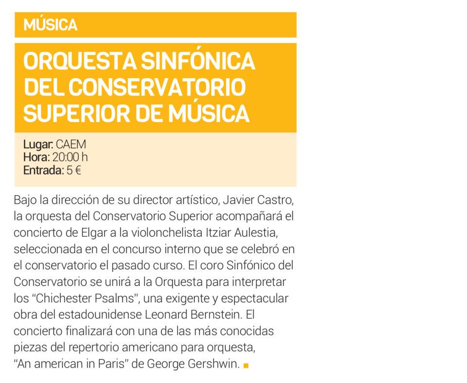 Centro de las Artes Escénicas y de la Música CAEM Orquesta Sinfónica del Conservatorio Superior de Musica de Castilla y León Salamanca Diciembre 2018