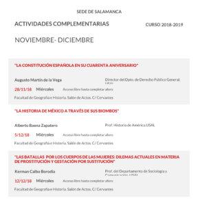 Facultad de Geografía e Historia Universidad de la Experiencia Salamanca Noviembre diciembre 2018