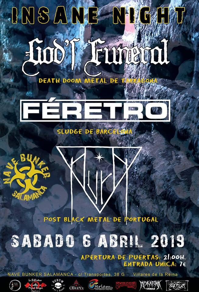 Nave Bunker God's Funeral + Féretro + Aura Villares de la Reina Abril 2019