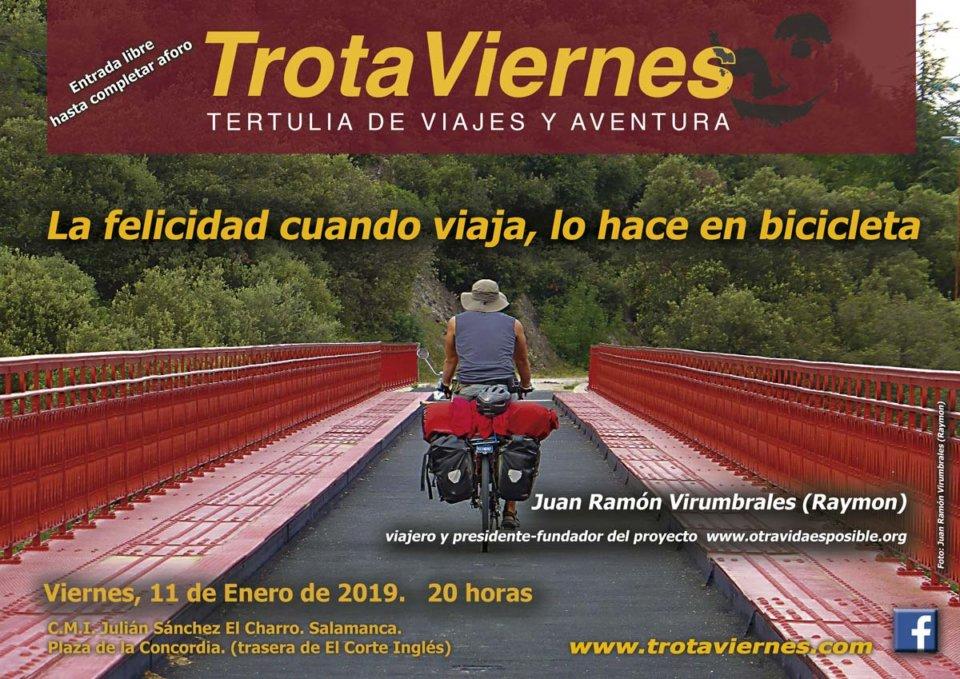 Julián Sánchez El Charro Trotaviernes La felicidad cuando viaja, lo hace en bicicleta Salamanca Enero 2019