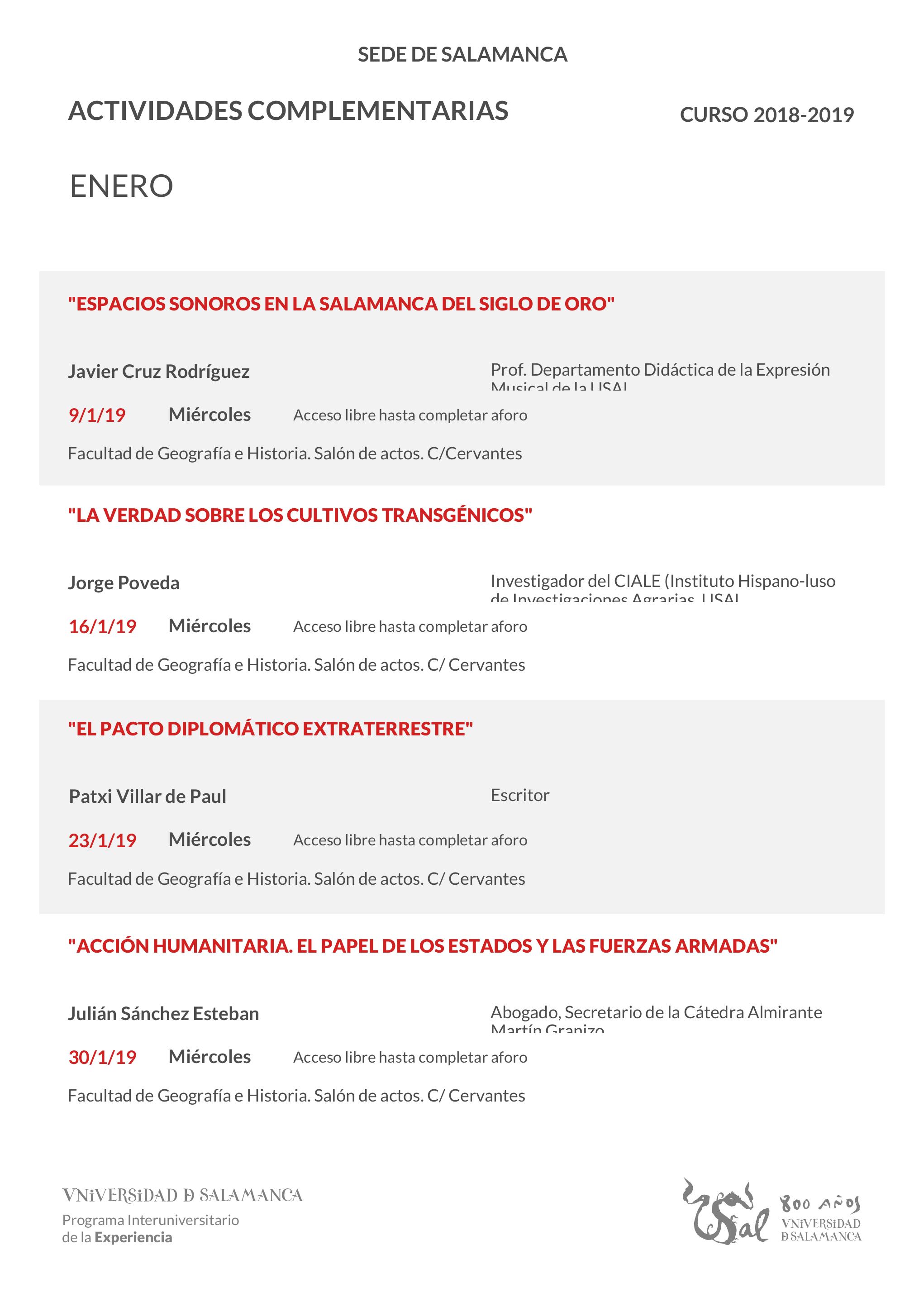 Facultad de Geografía e Historia Universidad de la Experiencia Salamanca Enero 2019