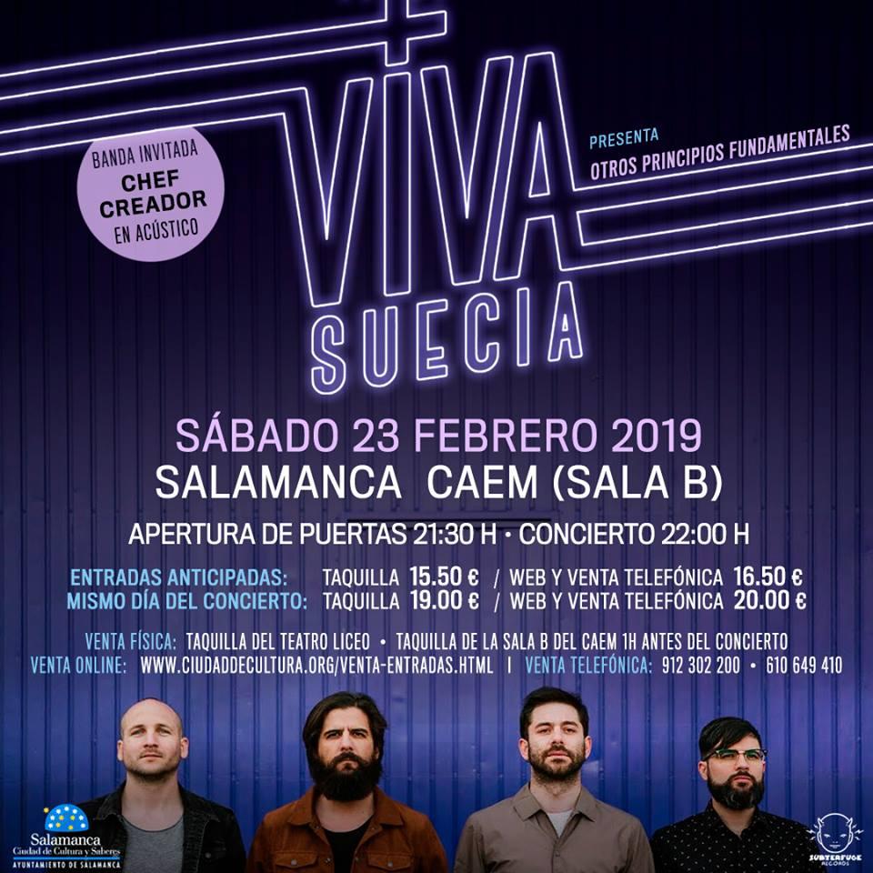 Centro de las Artes Escénicas y de la Música CAEM Viva Suecia + Chef Creador Salamanca Febrero 2019