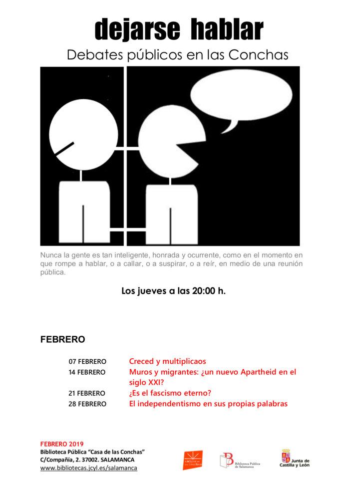 Casa de las Conchas Dejarse hablar: Debates públicos en las Conchas Salamanca Febrero 2019