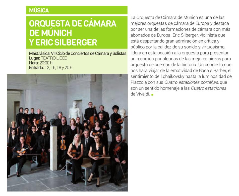 Teatro Liceo Orquesta de Cámara de Munich + Eric Silberger Salamanca Febrero 2019