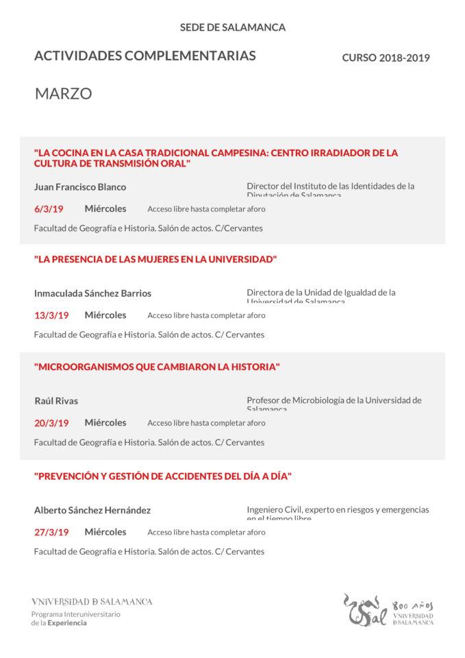 Facultad de Geografía e Historia Universidad de la Experiencia Salamanca Marzo 2019