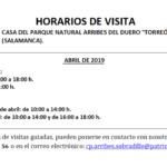 Horarios de abril (2019) para el Torreón de Sobradillo.