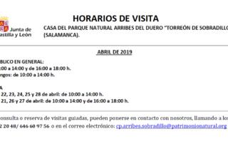 Horarios de abril (2019) para el Torreón de Sobradillo