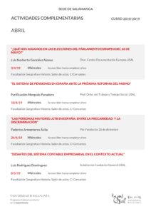 Facultad de Geografía e Historia Universidad de la Experiencia Salamanca Abril 2019