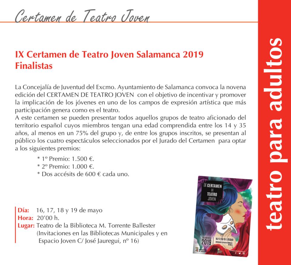 Torrente Ballester IX Certamen de Teatro Joven Salamanca Mayo 2019