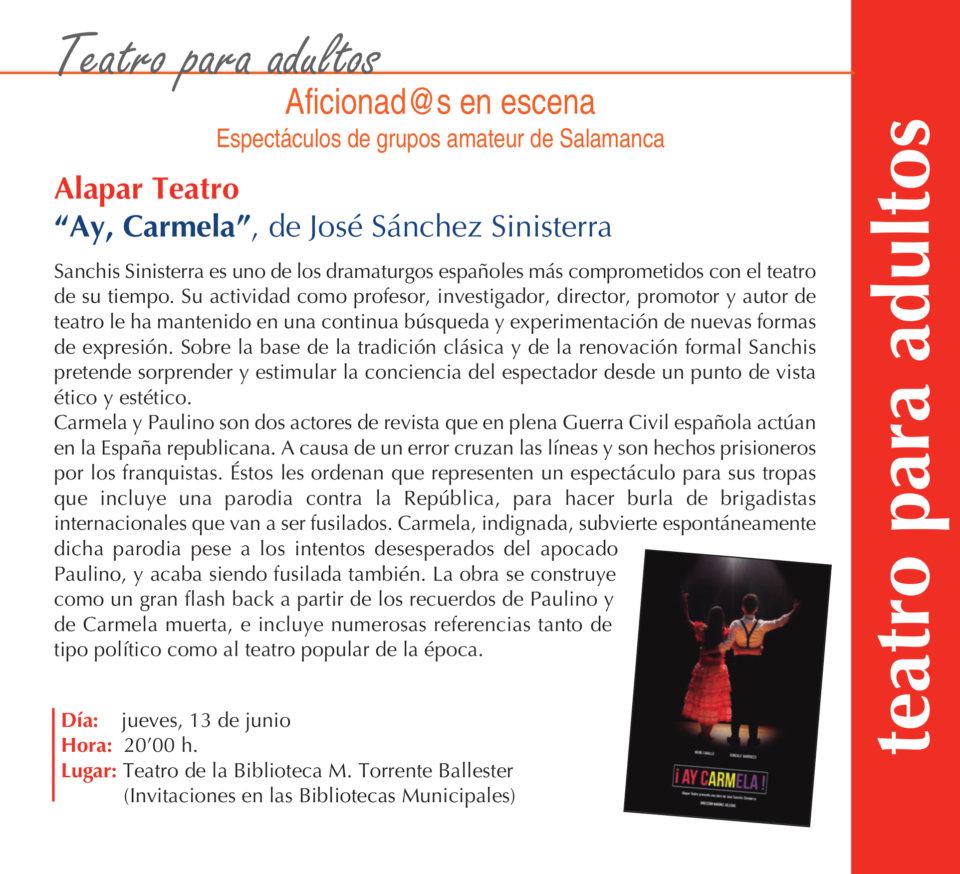 Torrente Ballester Alapar Teatro Salamanca Junio 2019