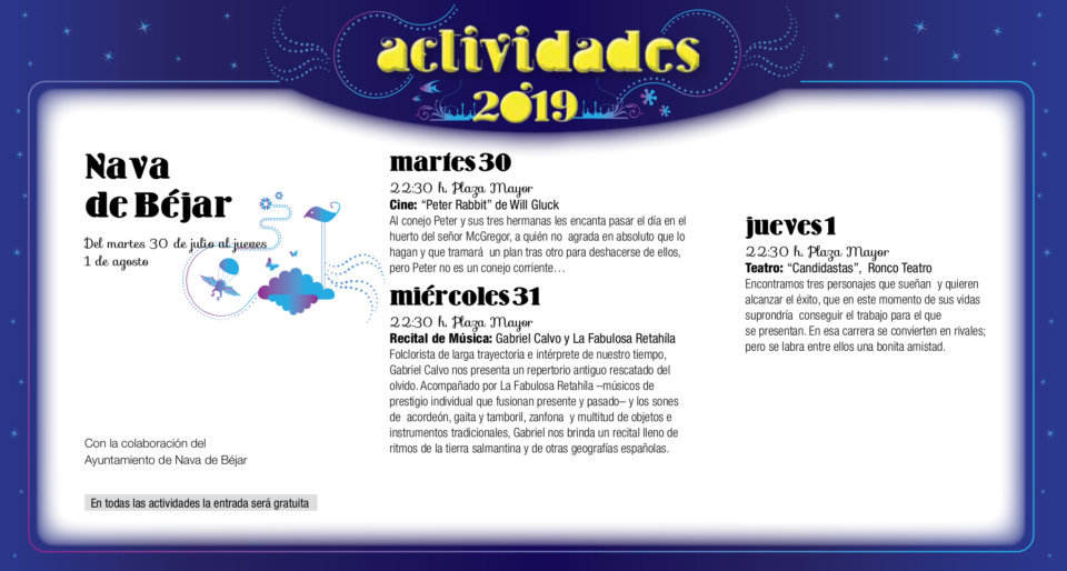 Nava de Béjar Noches de Cultura Julio agosto 2019