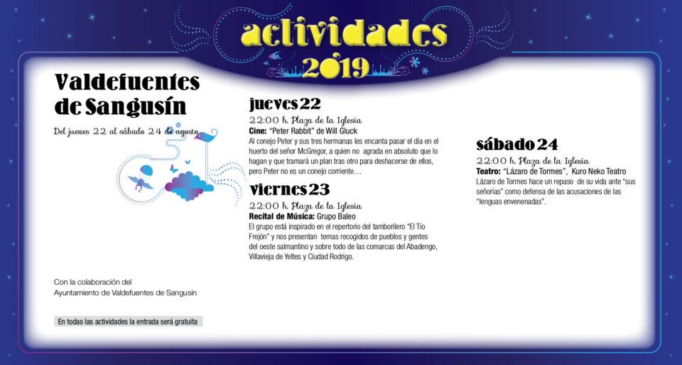 Valdefuentes de Sangusín Noches de Cultura Agosto 2019