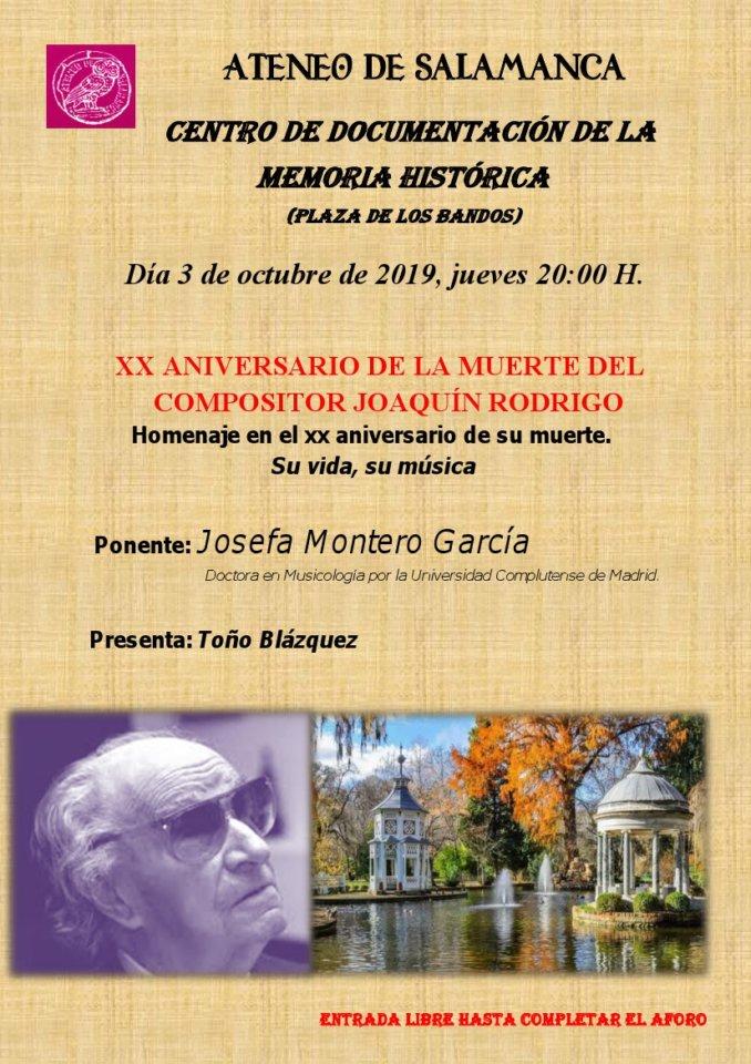 Centro Documental de la Memoria Histórica CDMH Homenaje a Joaquín Rodrigo Salamanca Octubre 2019