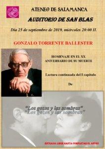 San Blas Homenaje a Gonzalo Torrente Ballester Ateneo de Salamanca Septiembre 2019
