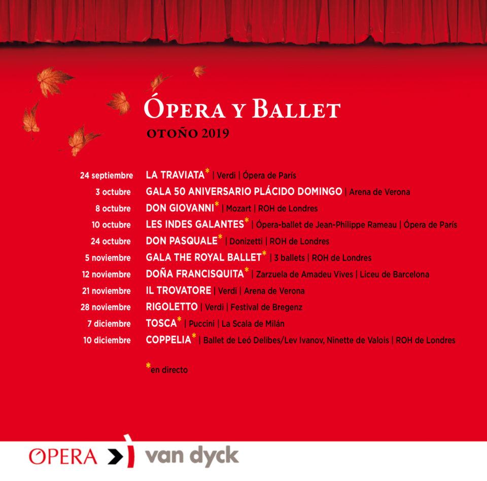 Cines Van Dyck Ópera y Ballet Otoño 2019