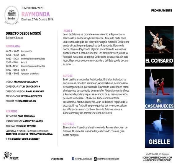Cines Van Dyck Ballet Raymonda Salamanca Octubre 2019