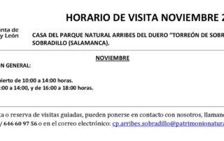 Horarios de noviembre (2019) para el Torreón de Sobradillo