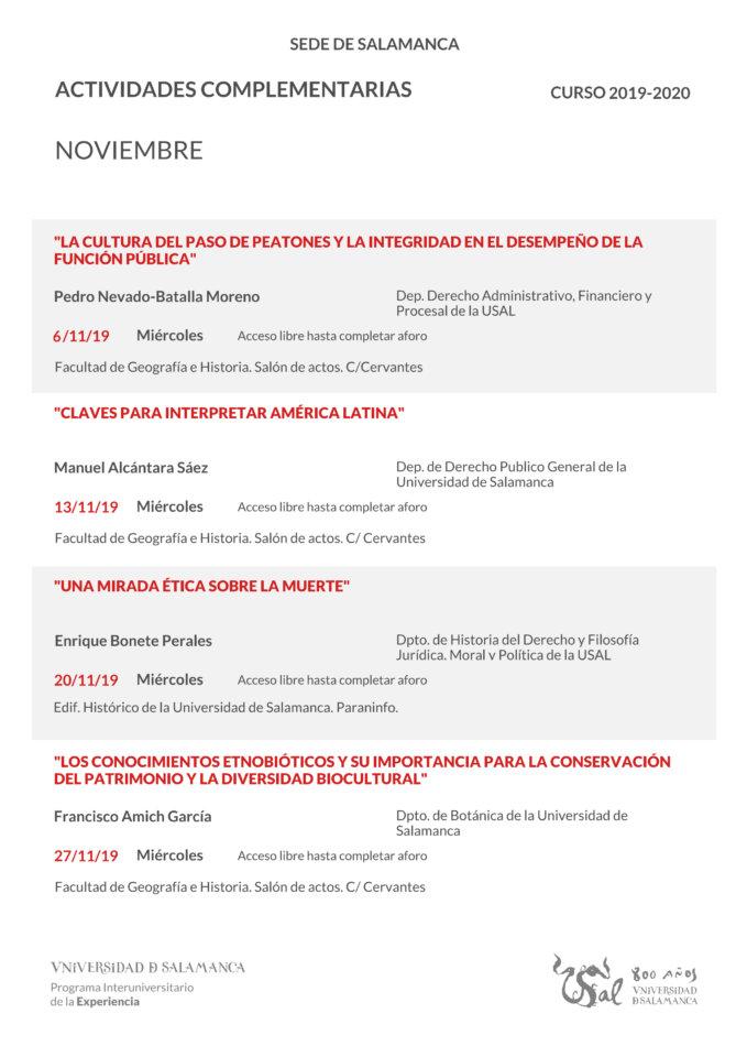 Programa Interuniversitario de la Experiencia Salamanca Noviembre 2019