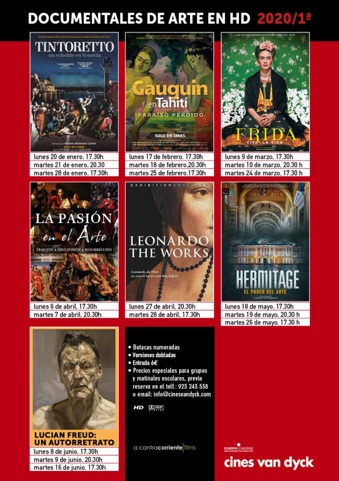 Cines Van Dyck Documentales de Arte Salamanca Enero febreo marzo abril mayo junio 2020