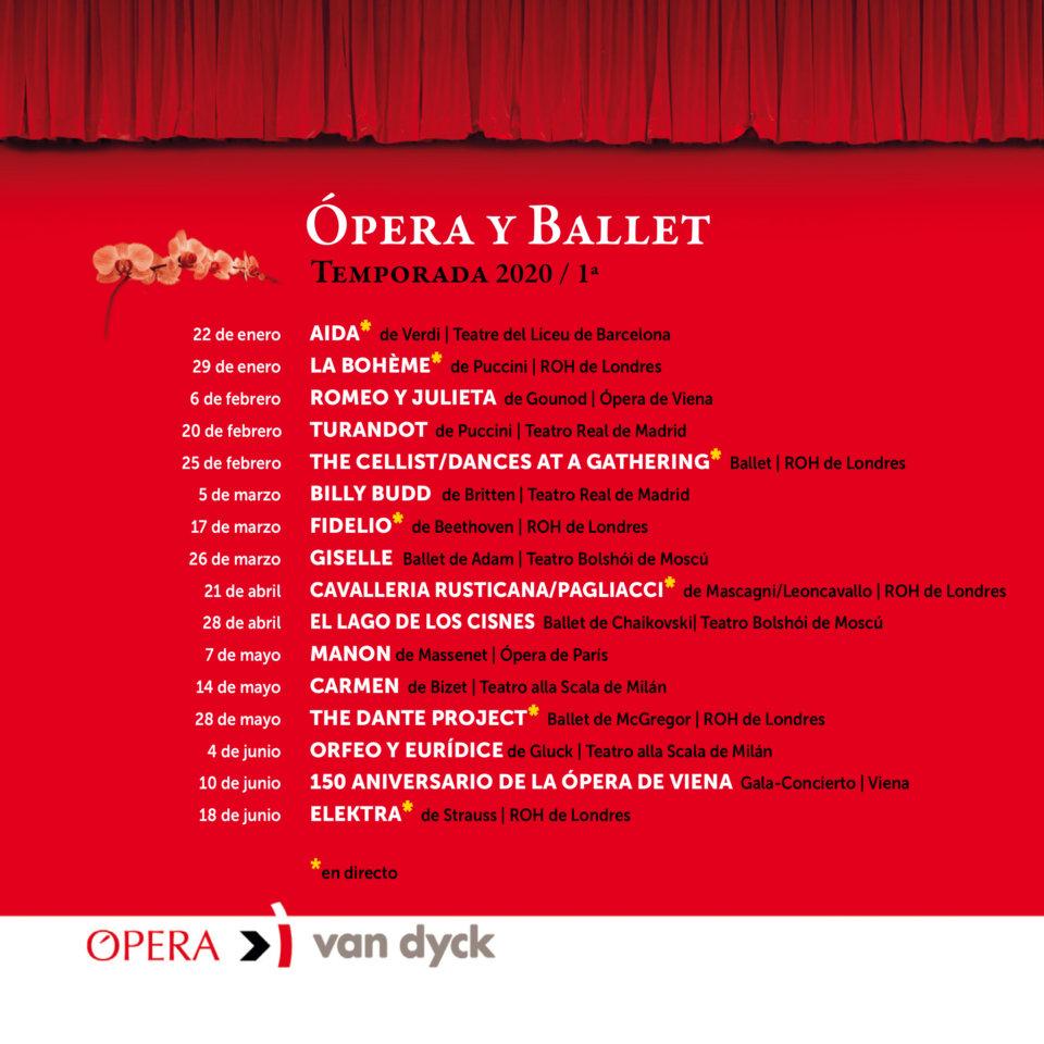 Cines Van Dyck Ópera y Ballet 2020 Primera