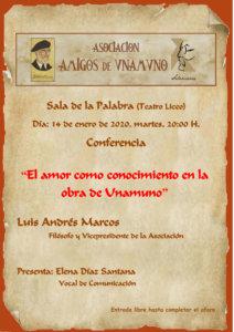 Teatro Liceo El amor como conocimiento en la obra de Unamuno Salamanca Enero 2020