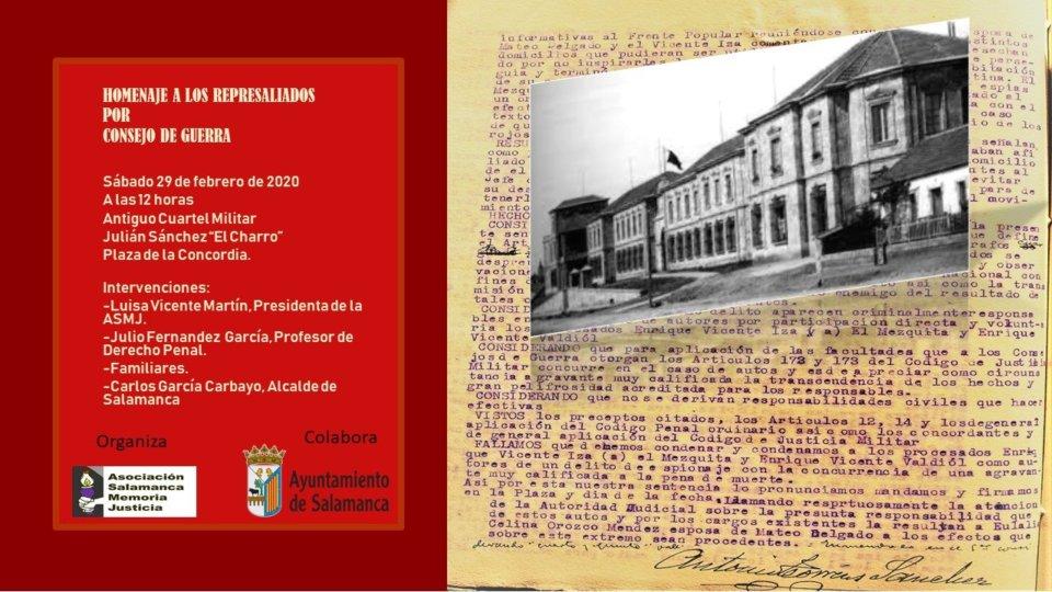 Plaza de la Concordia Homenaje a los Represaliados por Consejo de Guerra Salamanca Febrero 2020